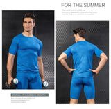 Front and back view wear by model Quick Dry short sleeves RASH GUARD t-shirt BLUE
