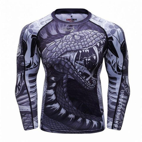 Front view No Gi Rash Guard Shirt MMA BJJ Active Wear - Mad Snake Edition