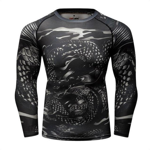 Front view No Gi Rash Guard Shirt MMA BJJ Active Wear - Snake Soul Edition