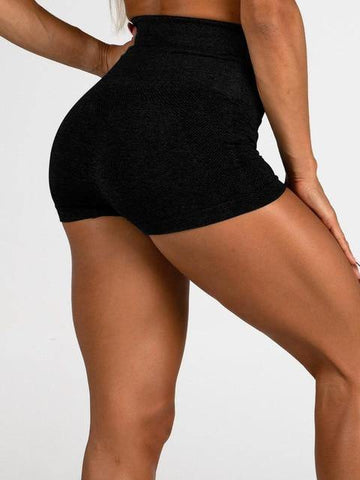 Back view buttocks wear by model Women's Gym Workout Tight Shorts Black
