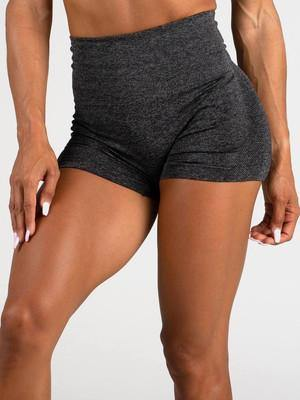 Front view wear by model Women's Gym Workout Tight Shorts Grey