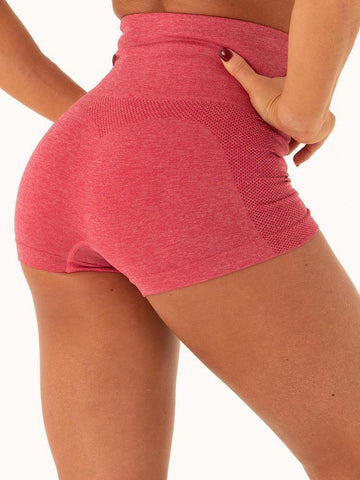 Back - side view buttocks wear by model Women's Gym Workout Tight Shorts Pink