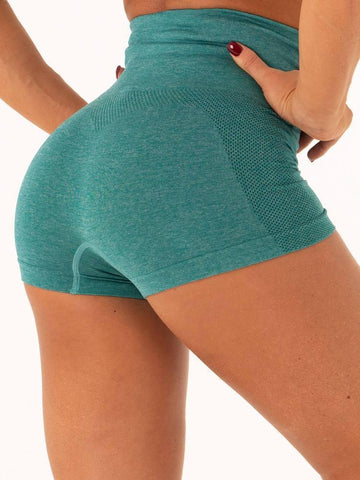 Back view buttocks wear by model Women's Gym Workout Tight Shorts green