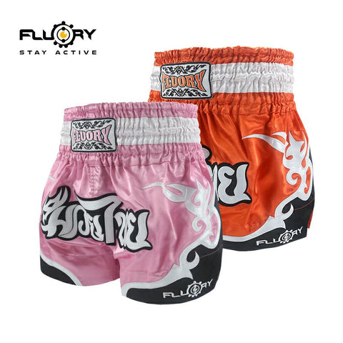 Muay Thai shorts pink and orange side by side