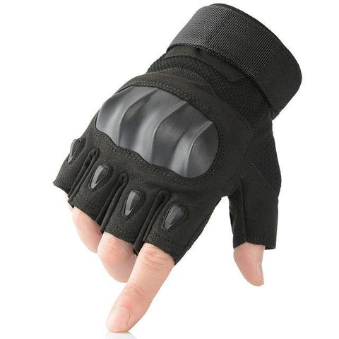 half finger black color Touch Screen Hard Knuckle Tactical Gloves wear by model hand