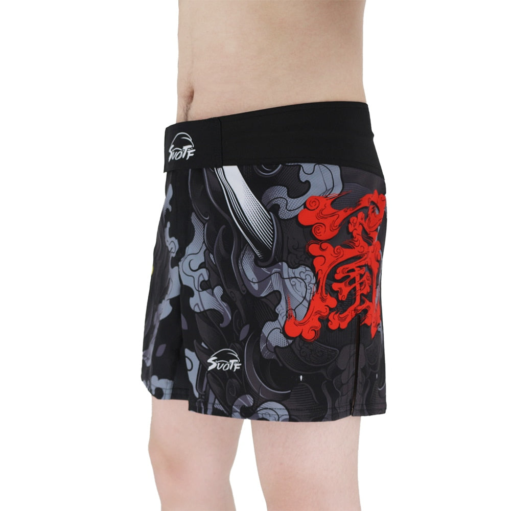 MMA Shorts display by model front side view
