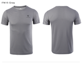 Front and back view  Quick Drying Fitness T Shirt grey