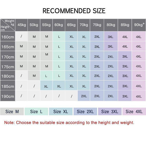 Size chart Quick Drying Fitness T Shirt