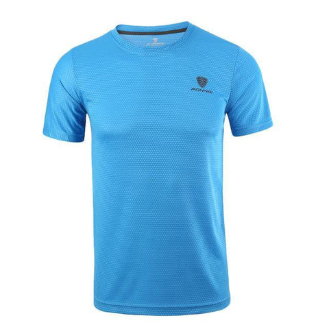 Front view Quick Drying Fitness T Shirt Blue