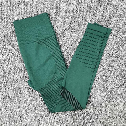 Green color Perforated Calves Yoga and Fitness leggings pants