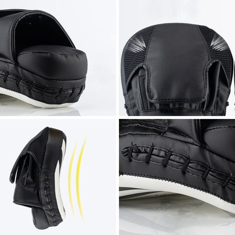 focus mitt pad details for hand ventilation, arc shape, stitching and wrist cushion protection