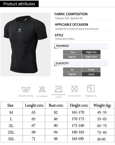 Active Wear Sport T-Shirt size chart and quick dry features