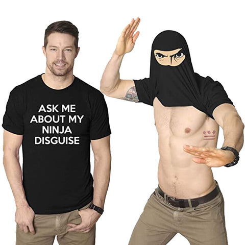 """double image of """"ask me about my ninja disguise"""" t-shirt display with model showing hidden ninja mask graphic feature over his face"""