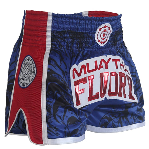 Muay Thai shorts blue and red with side mesh and Thai talisman patch on the side