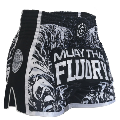 Muay Thai shorts black with side mesh and Thai talisman patch on the side