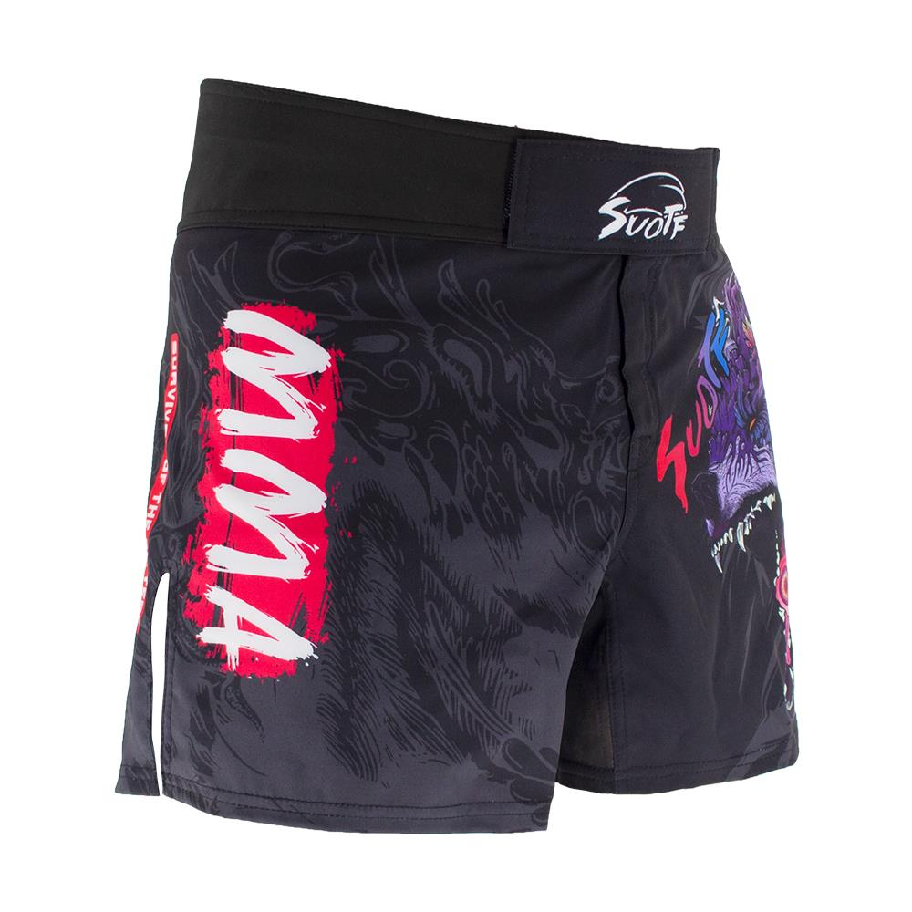 MMA Shorts side view with MMA graffiti graphics and front velcro pad