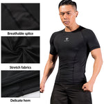 Active Wear Sport T-Shirt worn by model with details for breathable back stripe, fabric stretching, internal sewing