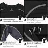 t-shirt technical details for neck design, breathable mesh armpits, quick drying fabric, firm sewing stitching