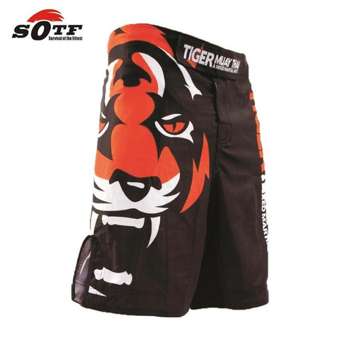 Side view graphics detail Tiger Muay Thai MMA shorts