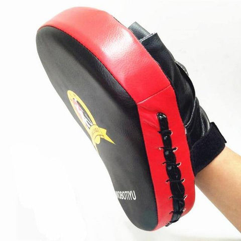 Red color hold by model hand Hand Target Focus Mitt