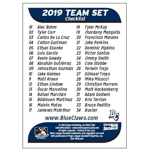 Lakewood BlueClaws 2019 BlueClaws Team Set