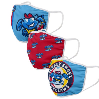 Jersey Shore BlueClaws Youth Face Cover 3-Pack