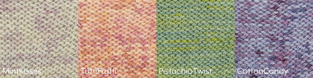 Four swatches of reverse stockinette