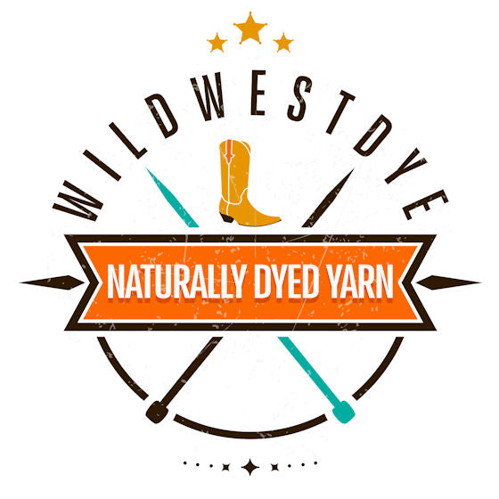 WildWestDye logo, a cowboy boot and pair of needles, sat behind the banner, Naturally Dyed Yarn.