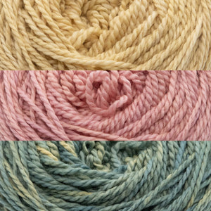 Close up of three colours of yarn, BananaSplit, BabyValentine and DragonTail