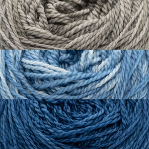 Close up of three colours of yarn, Silvette, Blueicia and StarGazer