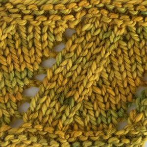 Knitted sample of SpinYouRound cowl in GoldStar - naturally dyed soft fingering yarn