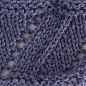 Knitted sample of SpinYouRound cowl in LavenderLips - naturally dyed soft fingering yarn