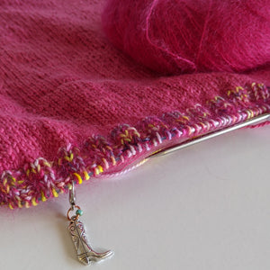 Cowboy stitch marker attached to knitting