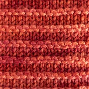 Close up of the RailTrack knitted pattern