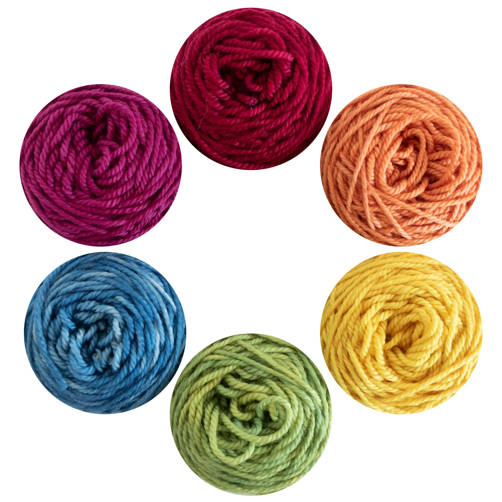Six cakes of Naturally dyed hand dyed yarn in Canada in the colours of the rainbow