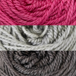Close up of three colours of yarn, ShowGirl, SilverStar and Tornado.