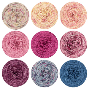 Nine cakes of Naturally dyed singles merino/ cashmere/ silk  yarn