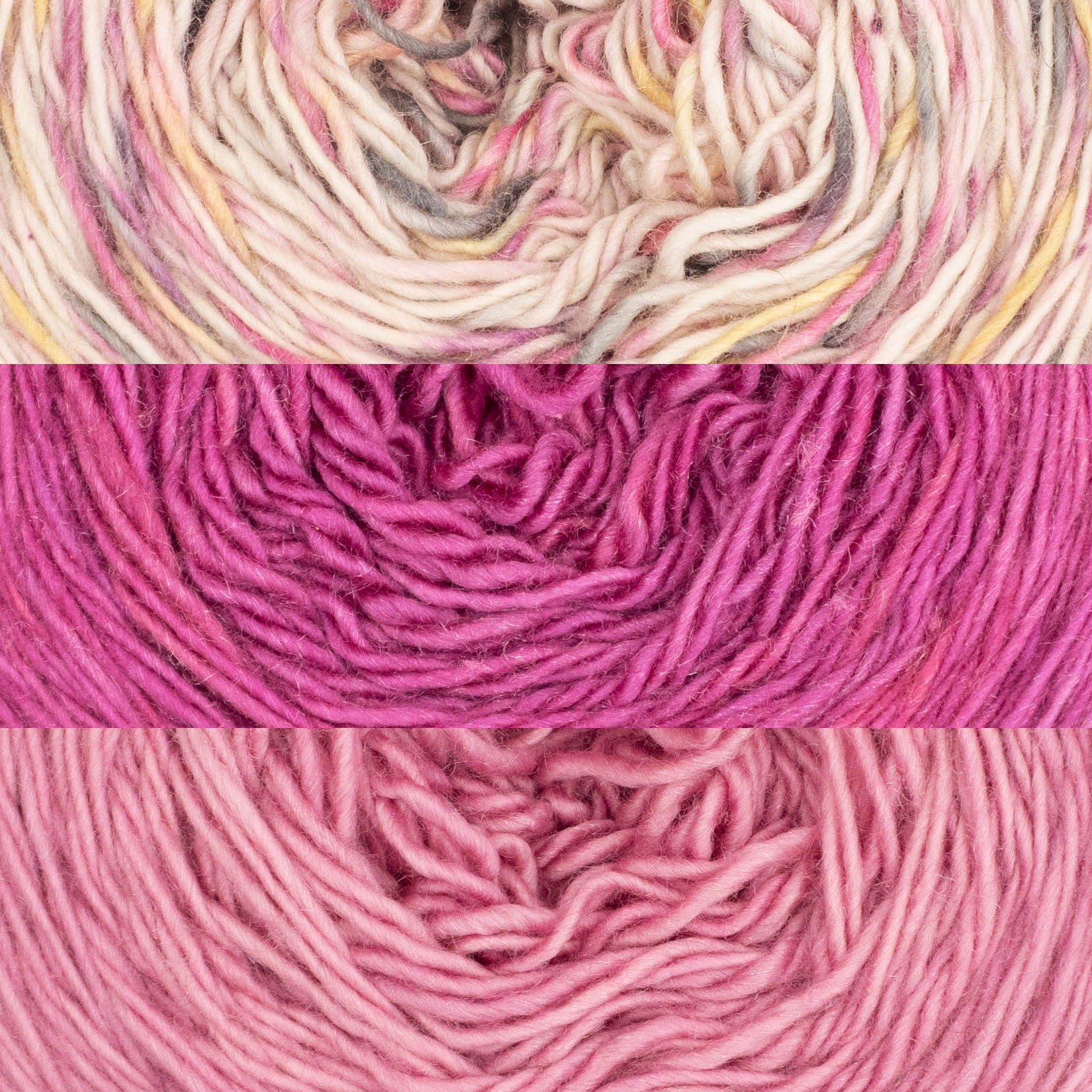 Three colours of Naturally dyed soft singles yarn