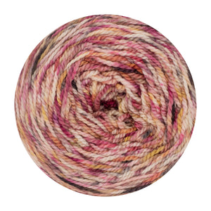 Naturally dyed pure merino in Twizolo - pink, yellow, black speckled colourway
