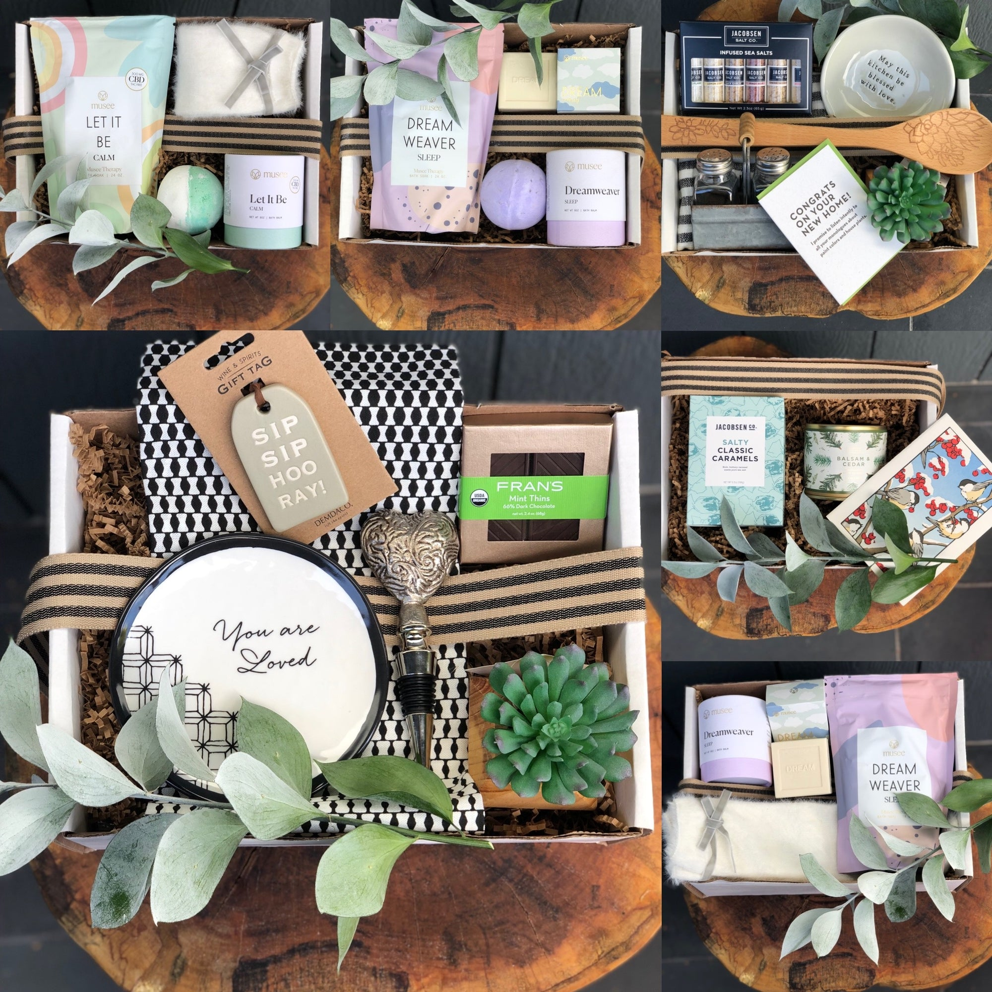 multiple gift items curated in themes foe all special occasions.  New Home, hospitality gifts, holiday candies, scented candles.  All a beautiful selection of locally made chocolates and bath & body for shower gifts in amazing scents like lavender.