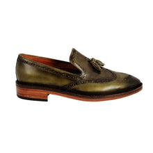 Load image into Gallery viewer, Slippers Gandini Cuero Patina Verde Hombre