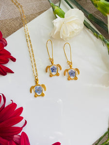 Sea Turtle Necklace & Earrings