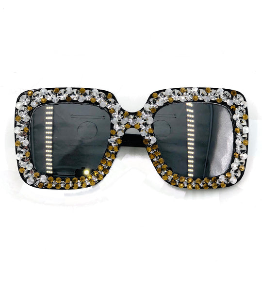 Cissy - metallic rhinestone glasses