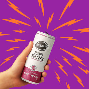 Black Cherry Hard Seltzer Can In Hand