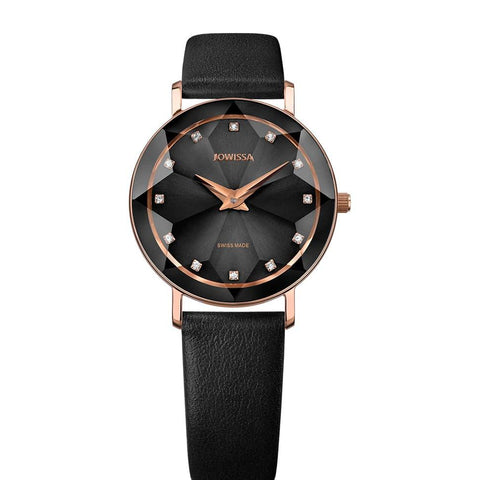 Black/Rose Facet Swiss Ladies Watch