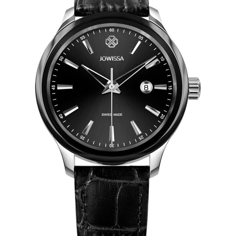 Silver/Black Leather Tiro Swiss Men's Watch