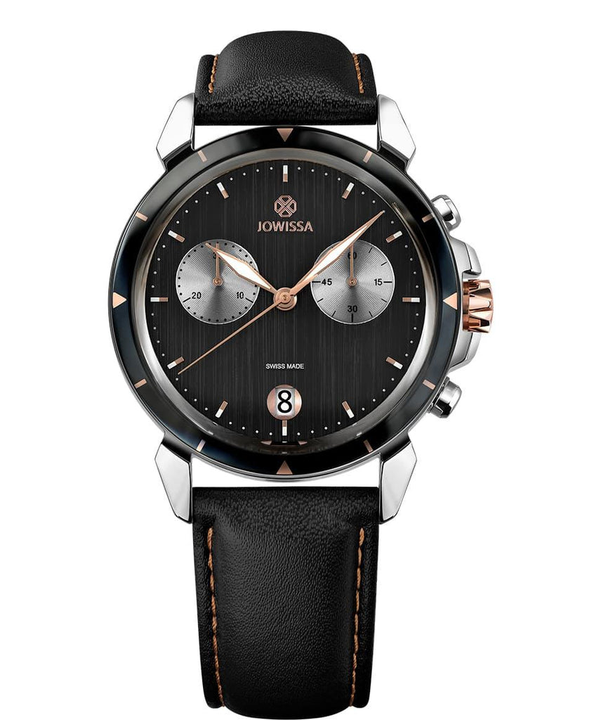Black Leather LeWy 6 Swiss Men's Watch