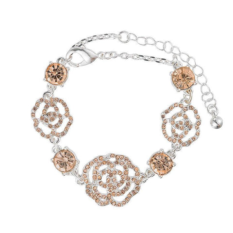 Silver Diamante Rose Bracelet - The Charming Jewellery Store