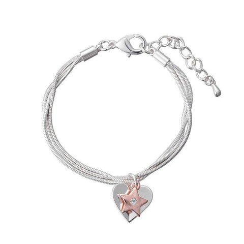 Silver Heart Bracelet with Rose Gold Star Charm