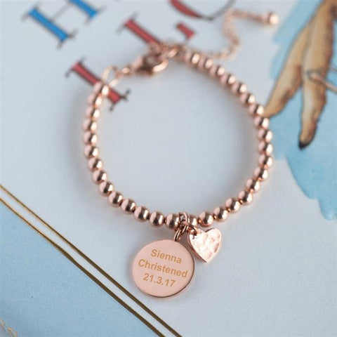 Rose Gold Bead Charm Bracelet - The Charming Jewellery Store